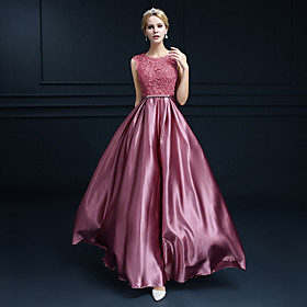 A-Line Beautiful Back Cute Formal Evening Dress Jewel Neck Sleeveless Floor Length Lace Satin with Crystals 2020
