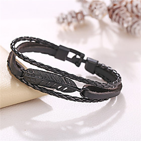 Men's Bracelet Bangles Vintage Bracelet Leather Bracelet Retro Weave Simple Vintage Punk European Ethnic Leather Bracelet Jewelry Black For Party Evening Sport