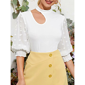 Women's Blouse Shirt Solid Colored Round Neck Tops Puff Sleeve Basic Top White