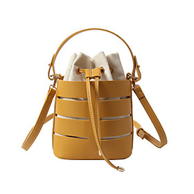 Women's Bags PU Leather Crossbody Bag Solid Color for Daily White / Black / Yellow / Khaki