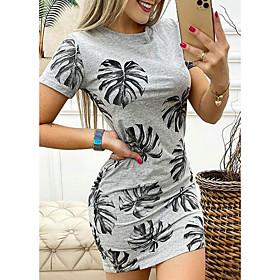 Women's T Shirt Dress Tee Dress Short Mini Dress - Short Sleeve Floral Summer Casual Sexy Slim 2020 Gray S M L XL