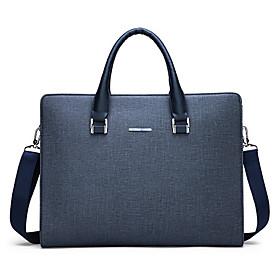 Men's Bags PU Leather Laptop Bag / Briefcase / Top Handle Bag Belt Zipper for Daily / Office  Career Black / Blue