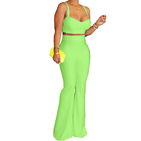 Women's Two Piece Set Basic Tank Top Camisole Tops Pant Set Solid Color