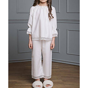Kids Girls' Solid Colored Sleepwear White