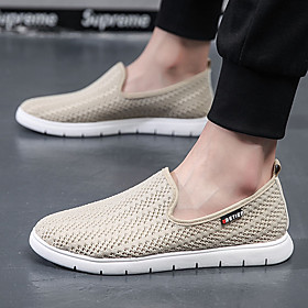 Men's Loafers  Slip-Ons Sporty / Casual Daily Running Shoes / Fitness  Cross Training Shoes Tissage Volant Breathable Wear Proof Black / Beige / Gray Summer /