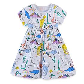 Kids Girls' Animal Short Sleeve Dress Rainbow