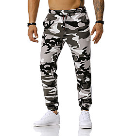 Men's Active Basic Vacation Causal Daily Casual Loose Sweatpants Pants Camouflage Spring Fall Orange Green Light gray S M L