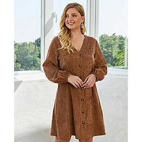 Women's Sheath Dress Knee Length Dress - Long Sleeve Solid Color Spring V Neck Plus Size Casual 2020 Army Green Royal Blue Brown XL XXL 3XL 4XL