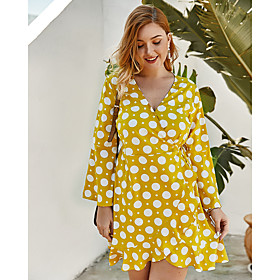 Women's A-Line Dress Short Mini Dress - Long Sleeve Polka Dot Print Spring Summer V Neck Plus Size Casual Loose 2020 Black Yellow Royal Blue XL XXL 3XL 4XL