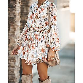 Women's A-Line Dress Short Mini Dress - Long Sleeve Print Print Summer Sexy 2020 White S M L XL