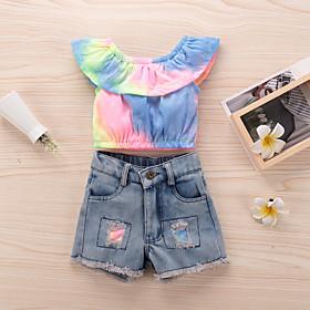 Kids Toddler Girls' Basic Chinoiserie Daily Wear Festival Rainbow Ripped Sleeveless Regular Regular Clothing Set Rainbow
