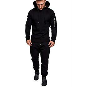 Men's Activewear Set Solid Colored Hooded Basic Hoodies Sweatshirts  Black Green Light gray