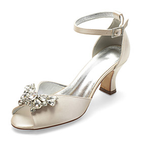 Women's Wedding Shoes Spring / Summer Cuban Heel Peep Toe Classic Vintage Wedding Party  Evening Rhinestone / Crystal Solid Colored Satin White / Black / Purpl