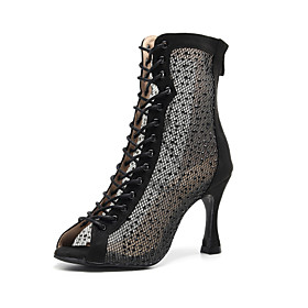 Women's Latin Shoes Boots Slim High Heel Suede Crystal / Rhinestone Black / Red / Performance / Practice
