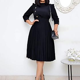 Women's A-Line Dress Knee Length Dress - Half Sleeve Solid Color Button Print Summer Casual 2020 Black L XL XXL