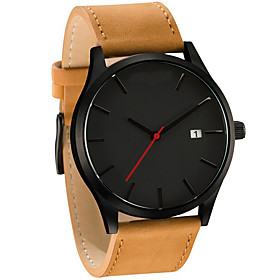 Men's Sport Watch Quartz Modern Style Stylish Classic Calendar / date / day Analog Black Red Brown / PU Leather / Chronograph / Large Dial