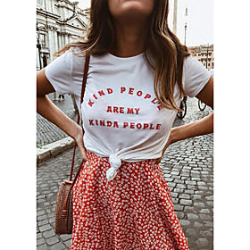 Women's T-shirt Graphic Prints Letter Print Round Neck Tops Slim 100% Cotton Basic Basic Top White