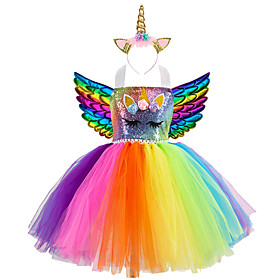 Kids Girls' Active Vintage Unicorn Rainbow Patchwork Halloween Sequins Lace up Patchwork Sleeveless Knee-length Dress Blue