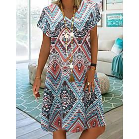 Women's A-Line Dress Knee Length Dress - Short Sleeve Tribal Print Summer V Neck Plus Size Casual vacation dresses Loose 2020 Blue Red M L XL XXL 3XL 4XL