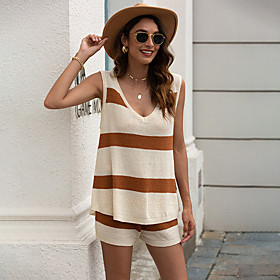Women's Two Piece Set Basic Print Drawstring Set Tops Pant Set Striped V Neck / Loose