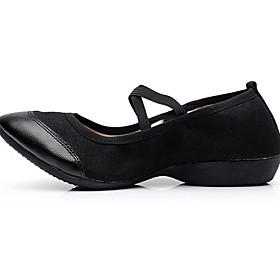 Women's Latin Shoes Flat Flat Heel Suede Black / Red