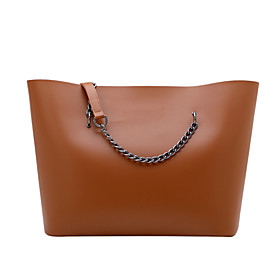 Women's Bags PU Leather / Polyester Top Handle Bag Chain Solid Color for Daily / Office  Career White / Black / Green / Brown / Fall  Winter