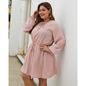 Women's A-Line Dress Knee Length Dress - Long Sleeve Solid Color Spring Summer V Neck Plus Size Casual Loose 2020 Blushing Pink XL XXL 3XL 4XL
