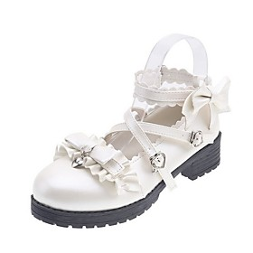 Women's Lolita Shoes Summer Flat Heel Round Toe Daily Solid Colored PU Black / Ivory / Beige
