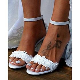 Women's Wedding Shoes Pumps Open Toe Basic Boho Wedding Party  Evening Satin Flower Beading Floral Solid Colored PU Summer White / Ivory