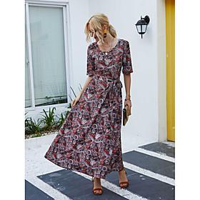 Women's A-Line Dress Maxi long Dress - Short Sleeve Floral Spring Summer Casual Elegant 2020 Rainbow S M L XL