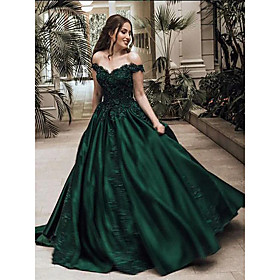 Ball Gown Luxurious Sparkle Quinceanera Prom Dress Off Shoulder Sleeveless Floor Length Lace Satin with Appliques 2020