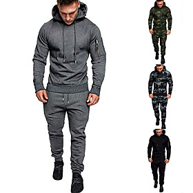 Men's 2-Piece Pocket Tracksuit Sweatsuit Jogging Suit Casual Long Sleeve Summer Cotton Thermal Warm Breathable Moisture Wicking Fitness Running Active Training