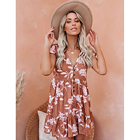 Women's A-Line Dress Short Mini Dress - Short Sleeve Geometric Ruched Print Summer V Neck Sexy 2020 Blushing Pink S M L XL