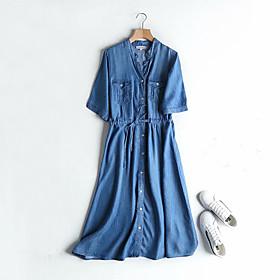 Women's A-Line Dress Knee Length Dress - Half Sleeve Solid Color Summer V Neck Casual Cotton 2020 Light Blue S M L