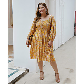 Women's A-Line Dress Knee Length Dress - Long Sleeve Print Print Spring Summer Casual Daily 2020 Yellow Royal Blue XL XXL XXXL XXXXL
