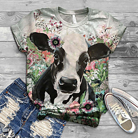 Women's T-shirt Floral Animal Flower Print Round Neck Tops Basic Basic Top Blue Light gray Light Green