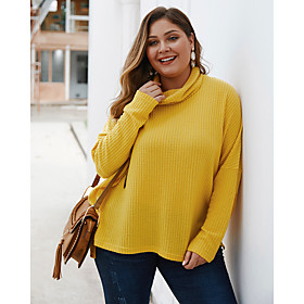Women's Solid Colored Pullover Long Sleeve Plus Size Loose Oversized Sweater Cardigans Turtleneck Fall Winter Black Yellow Wine