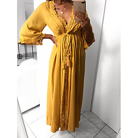Women's Swing Dress Maxi long Dress - 3/4 Length Sleeve Solid Color Lace Summer V Neck Sexy 2020 Yellow Green S M L XL