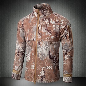 Men's Hunting Jacket Outdoor Waterproof Windproof Protective Spring Fall Camo Elastane Brown Army Green Camouflage