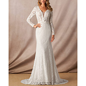 Mermaid / Trumpet Wedding Dresses V Wire Court Train Lace Long Sleeve Simple with Appliques 2020