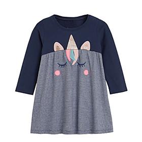 Toddler Girls' Patchwork Long Sleeve Dress Navy Blue