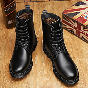 Men's Boots Work Boots Casual Daily Cycling Shoes Faux Leather Breathable Non-slipping Wear Proof Mid-Calf Boots Black Fall