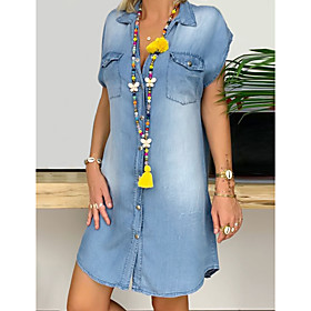 Women's Denim Shirt Dress Short Mini Dress - Short Sleeve Pocket Button Front Summer V Neck Plus Size Casual Hot 100% Cotton 2020 Blue S M L XL XXL