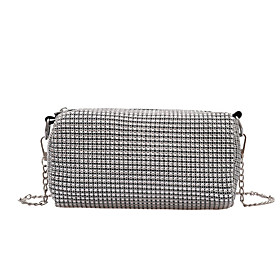 Women's Bags Polyester Crossbody Bag Crystals Chain for Daily / Holiday Black / Silver / Fall  Winter