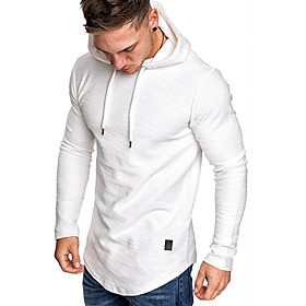 Men's Hoodie Solid Colored Hoodies Sweatshirts  White Black khaki