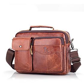 Men's Bags Nappa Leather Laptop Bag / Briefcase / Top Handle Bag Belt Zipper for Office  Career Light Coffee / Dark Brown / Black / Fall  Winter