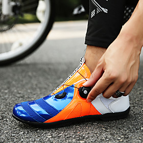 Adults' Hiking Shoes Mountaineer Shoes Bike Shoes Breathable Anti-Slip Mountain Bike MTB Road Cycling Cycling / Bike Red / Yellow Black / Red OrangeWhite Men's