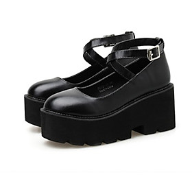 Women's Loafers  Slip-Ons / Lolita Shoes Spring / Summer Platform Round Toe Classic Vintage Daily PU Black