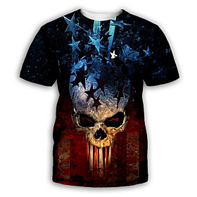 Men's Party T-shirt Graphic Skull Print Short Sleeve Tops Exaggerated Round Neck Black Royal Blue Rainbow