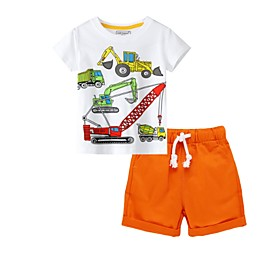 Kids Boys' Basic Print Short Sleeve Clothing Set Orange Fabric:Cotton; Sleeve Length:Short Sleeve; Gender:Boys'; Style:Basic; Kids Apparel:Clothing Set; Age Group:Kids; Pattern:Print; Front page:FF; Listing Date:07/02/2020; Bust:; Length [Bottom]:; Length [Top]: